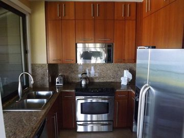 Designer kitchen with custom cabinets, granite countertops, stainless app.