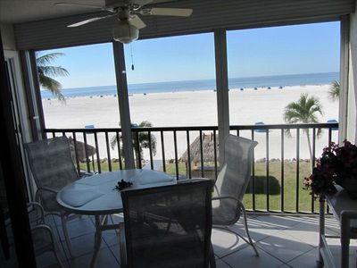 view from the patio to the beach and the Gulf of Mexico