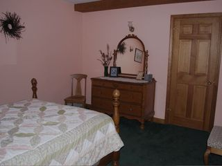Bar Harbor house photo - Downstairs bedroom with double bed and attached full bathroom.