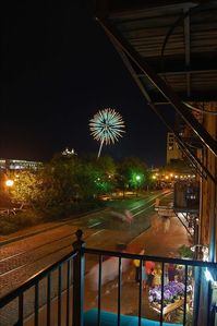 Savannah condo rental - Fireworks show from the balcony of 212 West Factors Walk