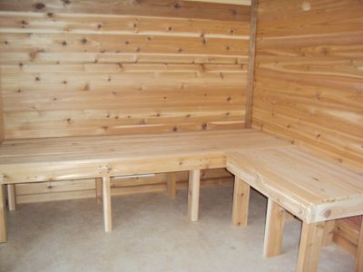 Mora cabin rental - These are the beautiful benches my father-in-law built for the sauna.