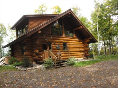 Eco friendly log cabin on quiet lake with vrbo for Vrbo wisconsin cabins