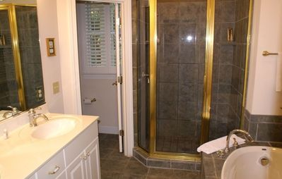 Master Bath with Glass Shower and Whirlpool Garden Tub