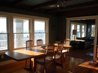 Gloucester - Annisquam house photo - Dining Room (seats 8) with views of sunset over Ipswich Bay