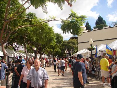 A street market taking place in Funchal center