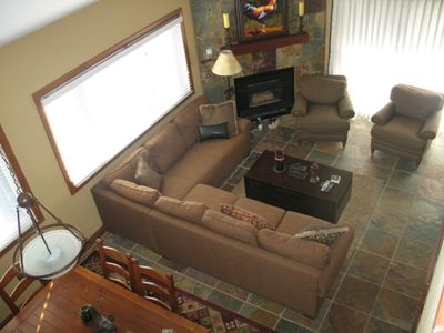 Living Room with Gas Fireplace and Plenty of Seating
