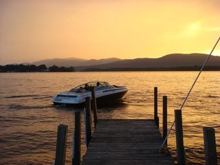 Pilot Knob cottage photo - View off the dock...spectacular sunset. We're off on an evening cruise
