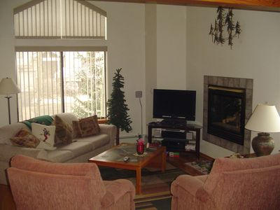 Lounge with sofa bed. Gas fire with 4 zone heating. 4 tv's in house.