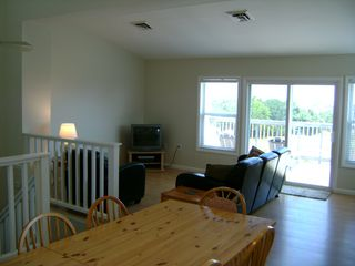 Kitty Hawk townhome photo - Open Dining/Living area (Top Floor) - Stairs lead down to bedrooms