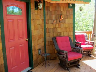 Bozeman cottage photo - Wonderful deck with comfortable seating, bbq, and gorgeous property view