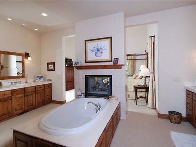 master bath with fireplace