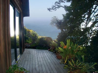 Outside deck with garden and ocean views