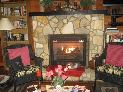 Grab a book from the bookcase and curl up by the fire...