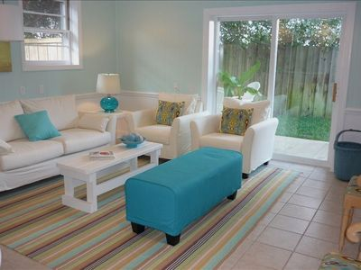 The fresh updated living room is a great place to gather with friends & family
