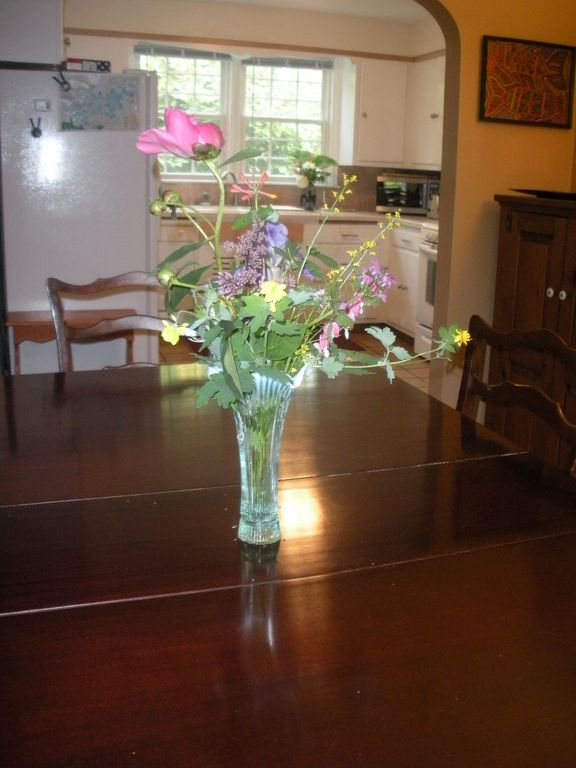 Dining room with flowers from the gardens