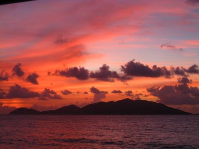 Fiery sunset on Jost Van Dyke! View from Fandango House!