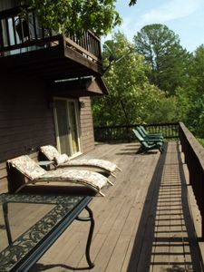 Deck on the back overlooks the Ozark National Forest