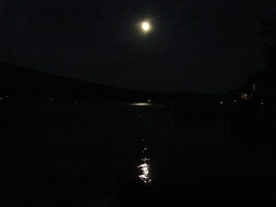 Moonlit view of the lake & bluff, to finish off  the night.