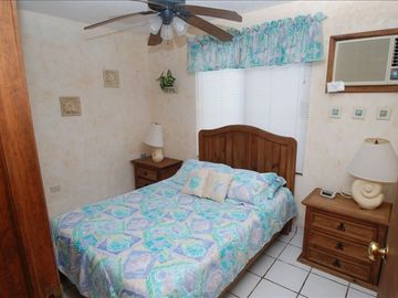Downstairs bedroom with full size bed