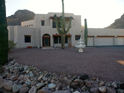 Queen Creek house rental - The front of the beautiful home that borders the San Tan Mountains Regional Park