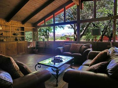 Living Room Offers Incredible Views of Green Paradise and Red Rock Vistas