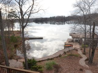Huddleston house photo - view of beach and dock from deck