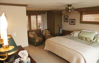 Master Bedroom:  Main floor with a view of the Lake.  Enjoy the sunrise in bed!