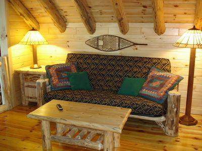 Colton cottage rental - Den with futon & 2nd TV