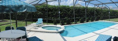 Panoramic view of pool and spa