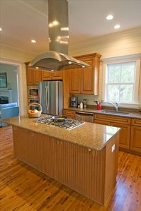 Top of the Live Kitchen with Granite Counters and Stainless Appliances