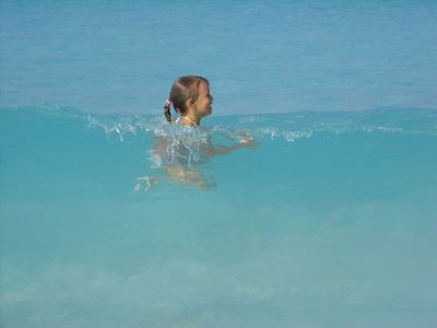 Crystal clear water is a blast to play in. Beach dream has boogie boards, too.