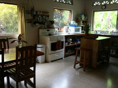 The kitchen is very large and well-equipped. Perfect for family meals!