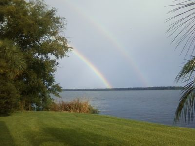 Beautiful rainbow from river condo.