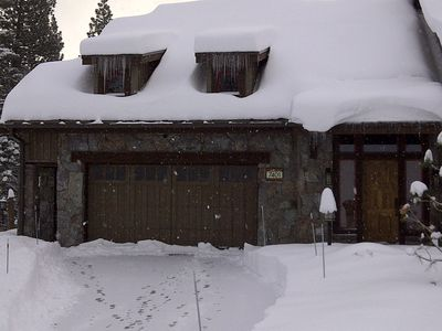 Front of townhome with large 2 car garage on gated street...ready for ski season