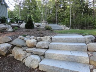 Bridgton house photo - granite stairs and side yard landscaping