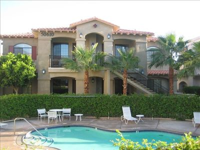 La Quinta condo rental - Lower level unit on the right. Easy parking. Enter off Desert Club Dr.