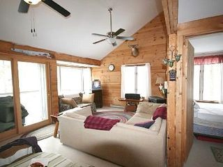 Casco cottage photo - Living room, with sliding door to deck.