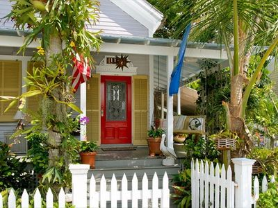 The entrance offers the first clue that this is more than a home, It's Key West