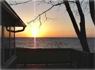 Sunset from the 3/4 wrap-around deck and overlooking Lake Erie