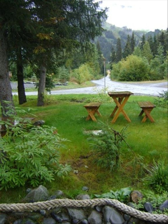 Picnic Table with View of the Ski Slopes