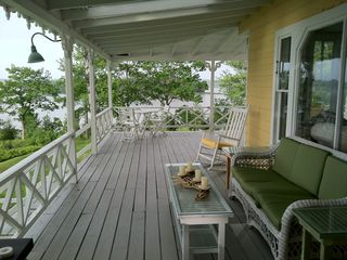 Harpswell cottage photo - The covered porch: perfect for relaxing, reading, morning coffee or Happy Hour ~