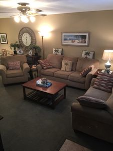 Queen sleeper sofa, loveseat, and chair