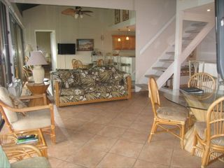 Living Area with flat screen TV,gorgeous ocean view access to lanai - Lahaina condo vacation rental photo