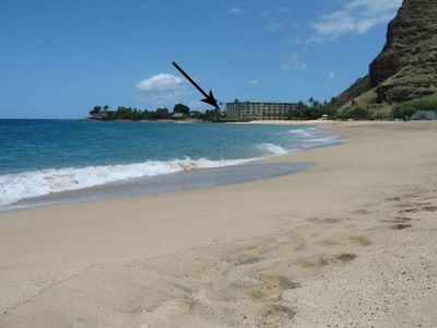 Makaha Beach and the Makaha Shores Condominium in the background