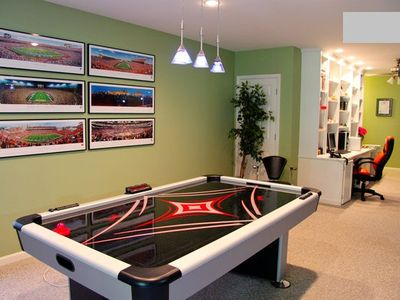 Regulation air hockey table and pull out full size sofa