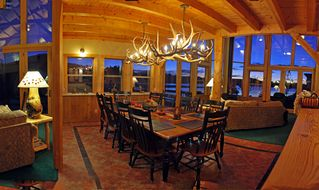 Pagosa Springs house photo - Dining Area with twin Elk Chandeliers looking out to Lake Hatcher
