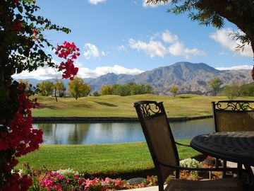 La Quinta townhome rental - Patio with amazing views!! Table & chairs for 4, bench seating for 2 & 2 lounges