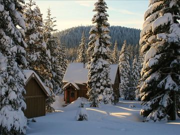 Cozy cabin in the snow...