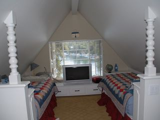3rd story bedroom with twin beds - Lake Arrowhead house vacation rental photo