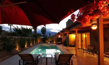 Cathedral City house rental - Backyard Patio and Pool at Night